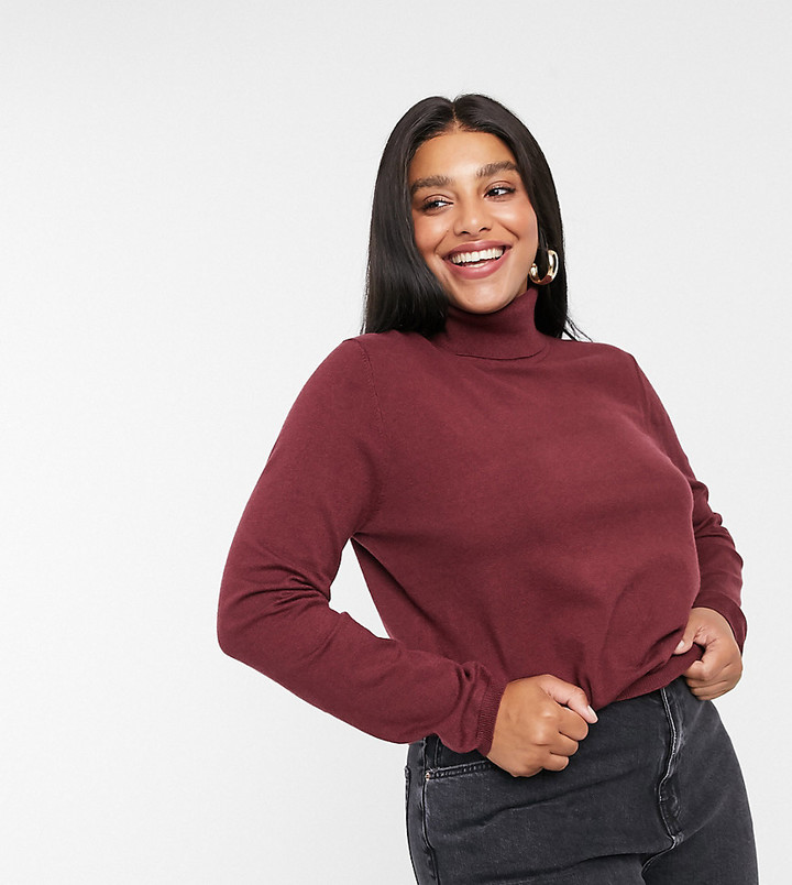 ASOS DESIGN Curve relaxed knit roll neck jumper