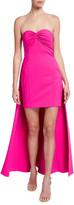 Aidan Mattox Strapless Crepe Dress with Train