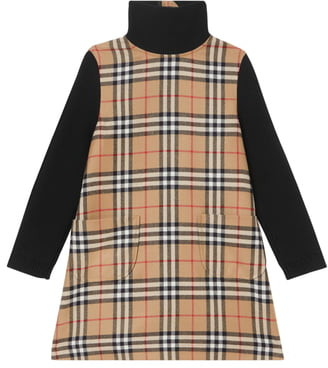 Burberry Adeline Check Turtleneck Long Sleeve Dress