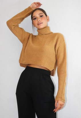 Missguided Tall Beige Crop Turtle Neck Sweater