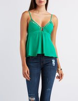 Charlotte Russe Caged-Trim Tank Top