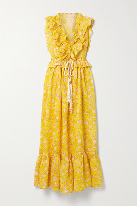 Yvonne S Marie Antoinette Ruffled Floral-print Linen Maxi Dress - Yellow