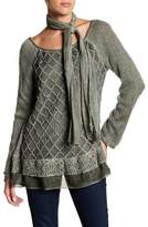 Luma Lace Trim Blouse with Scarf