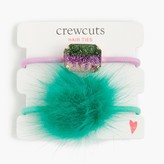 J.Crew Girls' glitter pop-pom hair ties