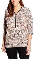 Via Appia Women's T-shirt Mit V-ausschnitt Und 3/4 Arm Druck Zipper Floral 3/4 Sleeve T-Shirt,44