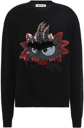 McQ Feather-trimmed Appliqued Cotton Sweater