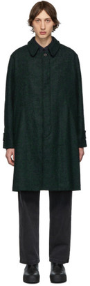 Schnaydermans Black and Green Oversized Boucle Coat