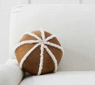 Pottery Barn Suede Sherpa Ball Pillow