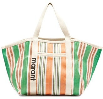 Isabel Marant Warden Striped Technical-canvas Tote Bag - Green Multi