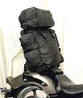 QueenDream Motorcycle Large Real Leather Sissy bar bag travel plain luggage T Bag Blk New