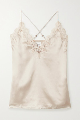 CAMI NYC The Everly Lace-trimmed Silk-charmeuse Camisole - Cream