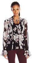 Adrianna Papell Women's Boho Shirred Detail Chiffon Print Top