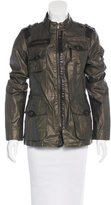 Vince Leather-Accented Metallic Jacket