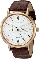 French Connection Men's 'Harley' Quartz Stainless Steel and Leather Automatic Watch, Color:Brown (Model: FC1223TA)