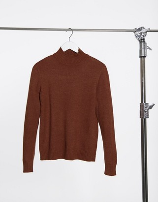 Vila high neck knitted sweater in rust
