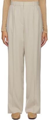 The Row Beige Wool Phoebe Trousers