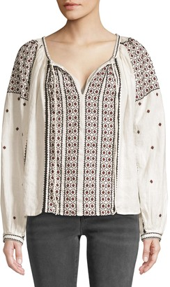 Frame Anita Embroidered Linen Peasant Top
