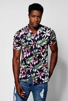 Boohoo Navy Tropical Floral Print Short Sleeve Revere Shirt