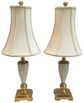 One Kings Lane Vintage,  Lamp/Gold/multi/Shade, Ivory, In Stock