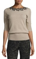 Etro Floral-Neck Half-Sleeve Sweater, Oatmeal