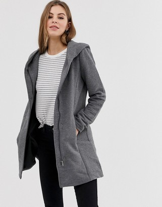 Only Sedona ribbed hooded coat-Grey