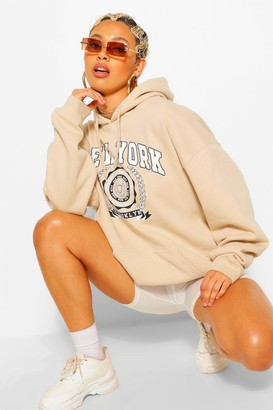boohoo New York Slogan Extreme Oversized Hoody