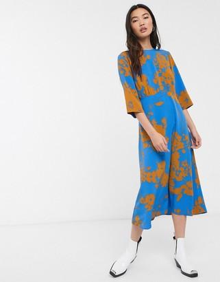 Selected Jade 3/4 sleeve floral midi dress