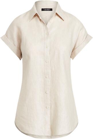 Thumbnail for your product : Ralph Lauren Metallic Linen Dolman-Sleeve Shirt