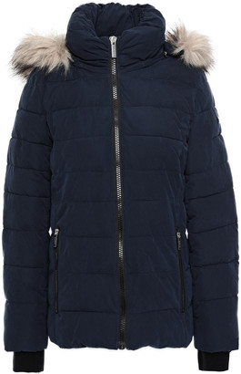 DKNY Faux Fur-trimmed Quilted Sateen Hooded Down Coat