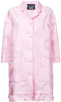 Moschino leaf patterned ruffle hem coat - women - Cotton/Nylon/Polyester - 42