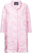 Moschino leaf patterned ruffle hem coat - women - Cotton/Nylon/Polyester - 48