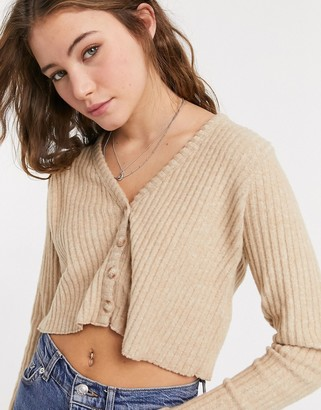 Bershka soft cardigan in camel
