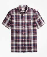 Brooks Brothers Plaid Crepe Madras Short-Sleeve Sport Shirt