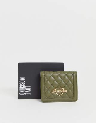 Love Moschino quilted faux leather purse-Green