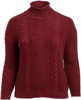 Derek Heart Women's Pullover Sweaters BIKING - Biking Red Cable-Knit Button-Back Sweater - Plus