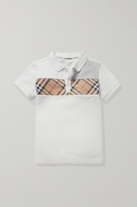 Burberry Ages 3 - 12 Checked Canvas-trimmed Pique Polo Shirt