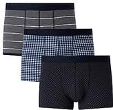 John Lewis Multi Pattern Trunks, Pack of 3, Navy