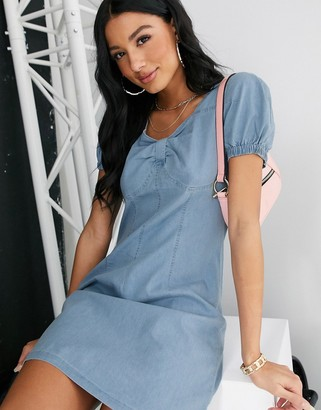 Qed London denim sweetheart neckline mini dress in midwash blue