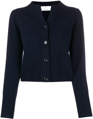 Allude Ribbed Knit Edge Cropped Cardigan