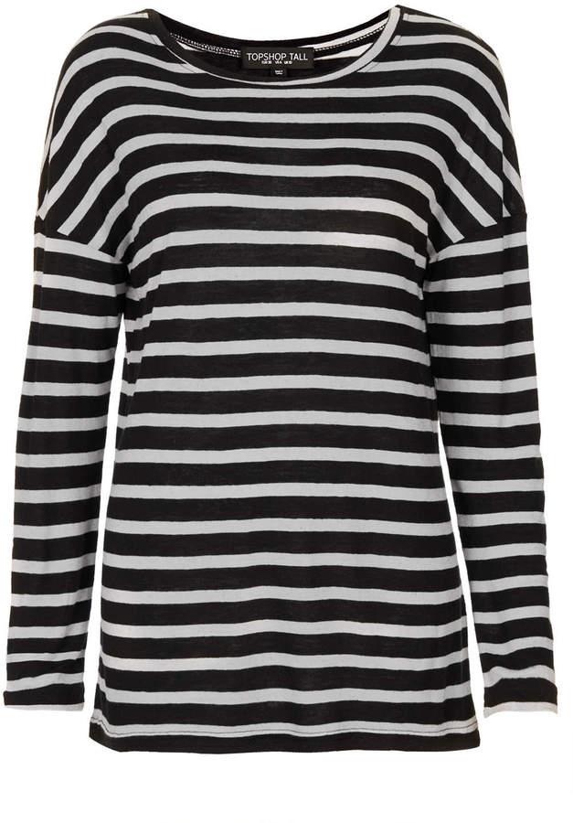 Topshop Tall linen stripe long sleeve tee