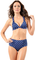Voda Swim Navy Dot Envy Push Up Ruched Halter Top With Crisscross Or