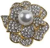 Kenneth Jay Lane Women's Gold Plated White Pearls Center Crystals Brooch