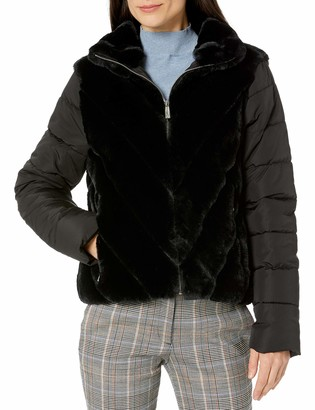 Calvin Klein Women's Puffer with Faux Fur Jacket
