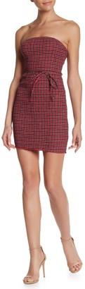 Wild Honey Plaid Waist Tie Smocked Mini Dress