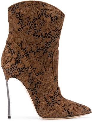 Casadei Floral Lace Ankle Boots