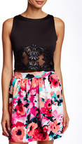 Necessary Objects Pleather Lace Scuba Crop Top