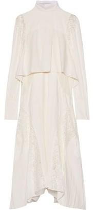 Chloé Layered Leavers Lace-paneled Crepe De Chine Dress