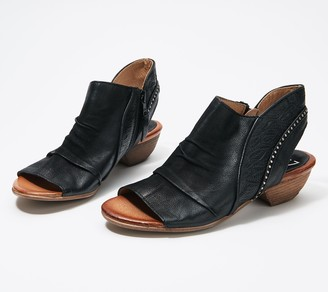Miz Mooz Leather Peep-Toe Wide Booties - Chase