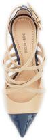 Pour La Victoire Colettea Matte/Patent Crisscross Pump, Navy/Beige