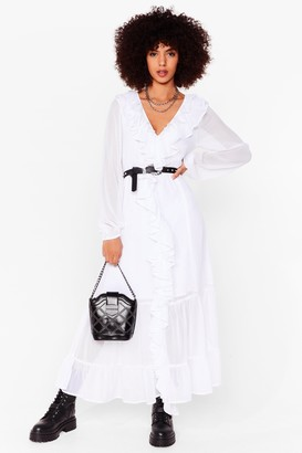 Nasty Gal Womens What Frill It Take Ruffle Maxi Dress - White - 6